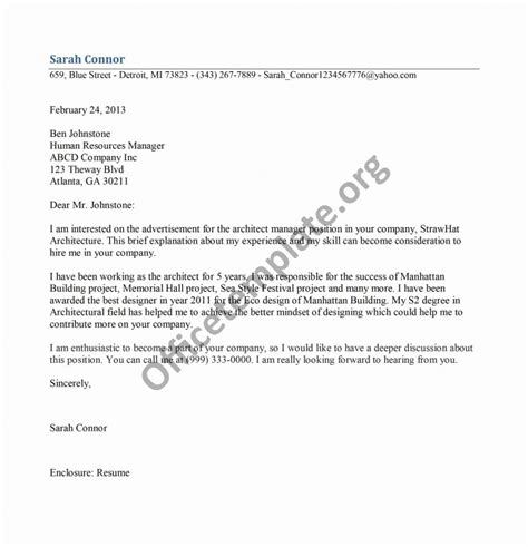 Architectural Manager Cover Letter by Architect Manager Cover Letter Template Office Templates
