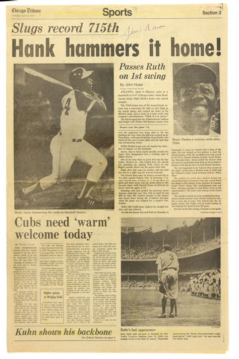 chicago tribune sports section lot detail 1974 hank aaron atlanta braves signed chicago