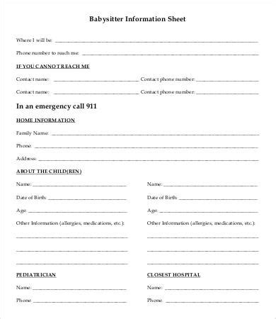Daycare Information Sheet Template by Information Sheet Template 6 Free Word Pdf