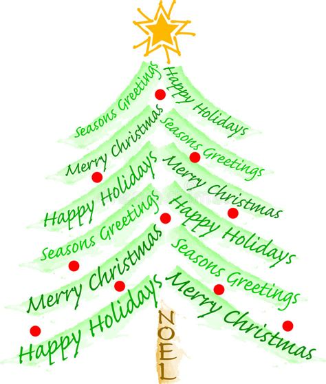 words to describe a christmas tree albero di saluto di natale illustrazione vettoriale illustrazione di scheda 5875694