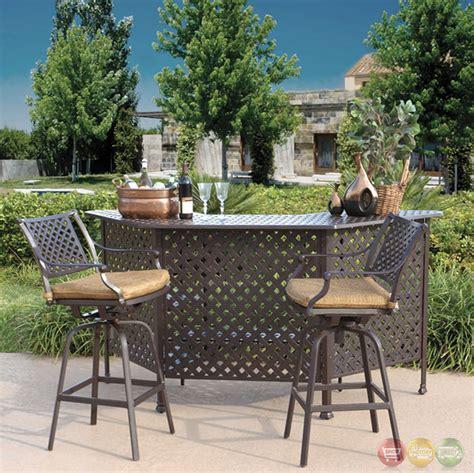 outdoor setting charleston 3pc cast aluminum outdoor dining bar set 10632280