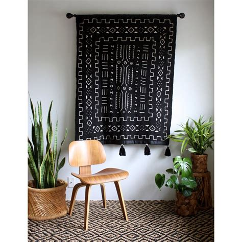 large   black mudcloth african wall hanging mud cloth