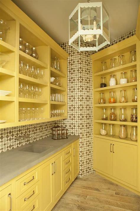 mustard yellow kitchen pantry cabinets  concrete