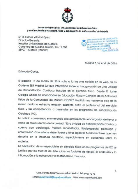 carta de trabajo de gerente carta remitida al director gerente hospital de getafe