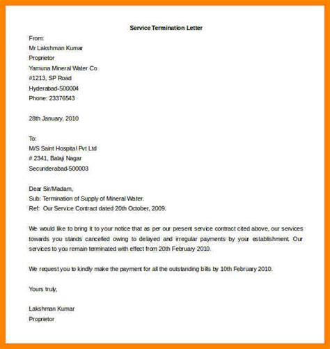 termination letter format for security services 10 business contract termination letter template