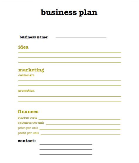 free buisness plan template 9 sle sba business plan templates sle templates
