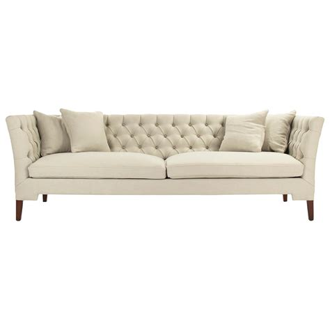 Eon Modern Classic Angular Beige Tufted Sofa Kathy Kuo Home Tufted Sofas