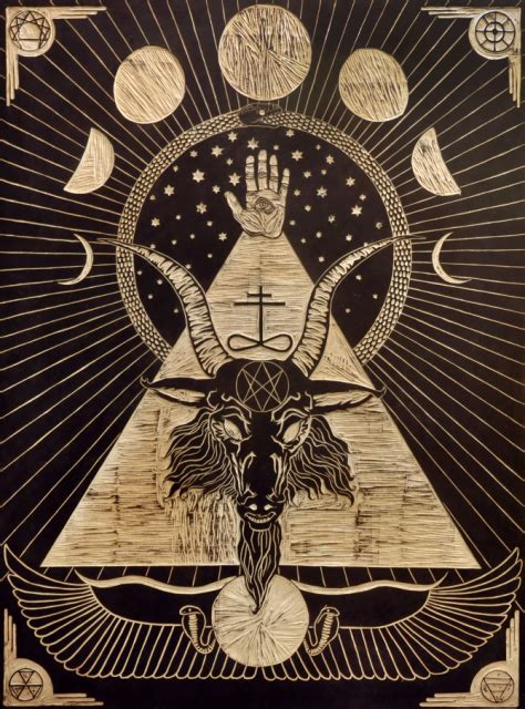 baphomet illuminati illustration black illuminati wood goat horns woodprint