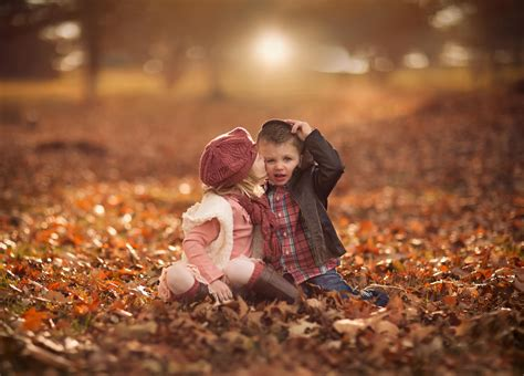 themes love and kiss cute child kissing autumn field wallpapers hd wallpapers