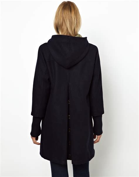 swing coat with hood asos parka london scarlett wool swing coat with hood and