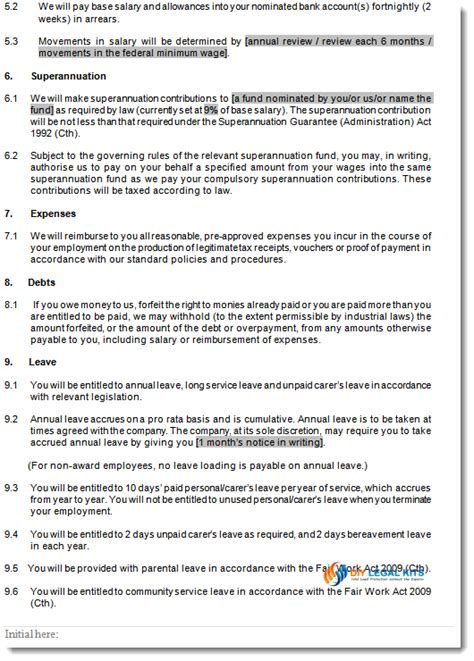 part time employment contracts template