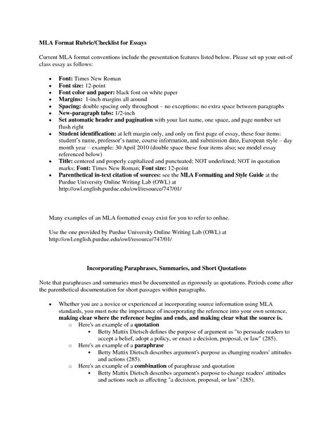 Essays Mla Format by Narrative Essay Mla