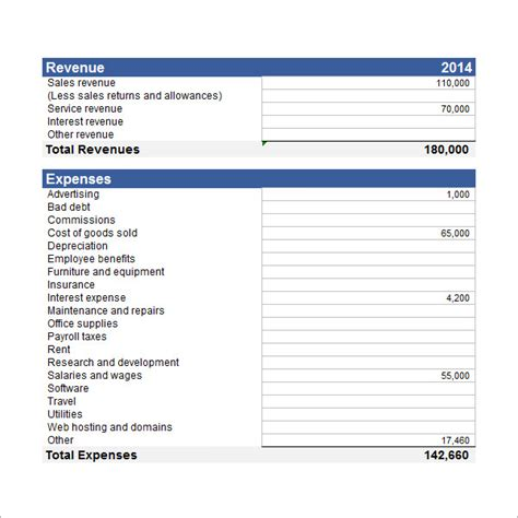sle income statement template 17 free documents in