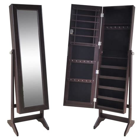 standing jewelry armoire with mirror brown free standing jewelry cabinet with mirror vidaxl com