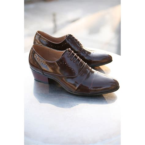 dress shoes with heels mens punching lace up wrinkle high heel dress shoes