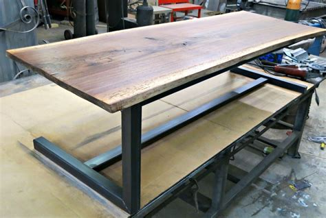 made walnut and steel contemporary coffee table by