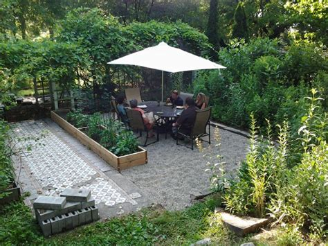 Pea Gravel Backyard by Backyard Patio On A Budget Rustic Refined