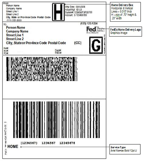 international shipping label template layout and font requirements for fedex home delivery u s