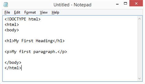html tutorial on notepad html editors