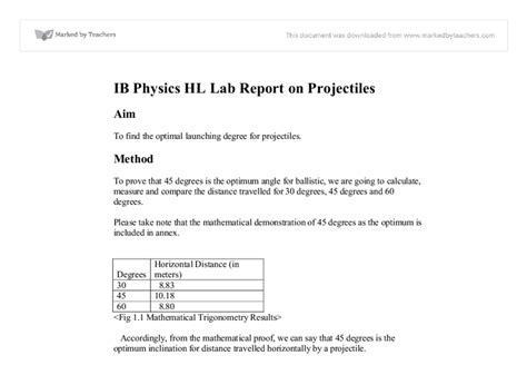 ib physics hl lab report on projectiles international