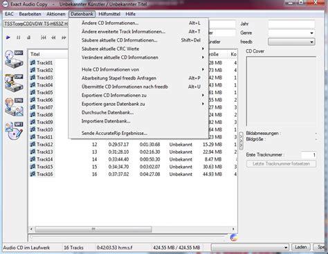 arbeiten mit exact audio copy eac exact audio copy chip