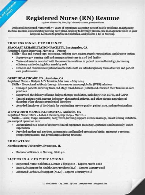 Registered Nurse (RN) Resume Sample & Tips   Resume Companion