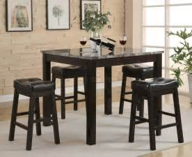black modern 5pc faux marble top counter height dining set