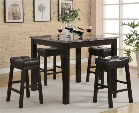 bar top height tables black modern 5pc faux marble top counter height dining set