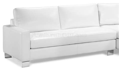 contemporary white bycast leather sectional sofa w tufted
