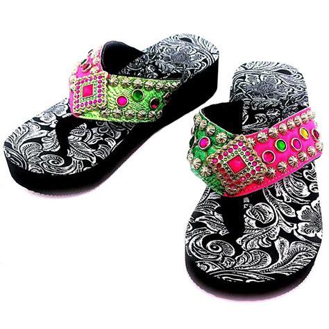 western h pink and green rhinestone concho flip flop ebay