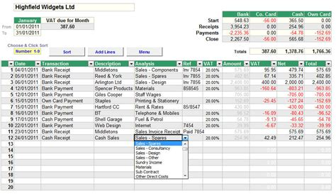 cash book spreadsheet for accounts with standard vat cash