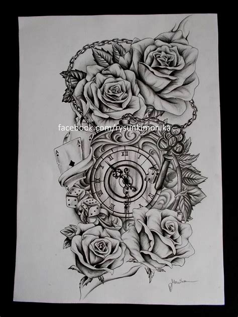 tattoo design roses and clock by mydrawings11 on deviantart