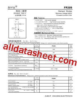 diode fr309 fr309 datasheet pdf rugao dachang electronics co ltd