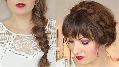 braidstyles for people with thin hair cute hairstyles for thin hair thick braid milkmaid updo