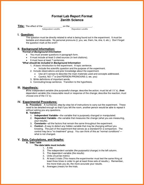 science project written report sle sle lab report format 28 images lab report template 28