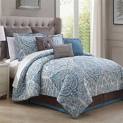 light blue bed set donatella 9 piece comforter set in light blue bed bath