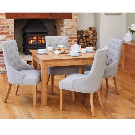oak medium dining table   grey accent narrow