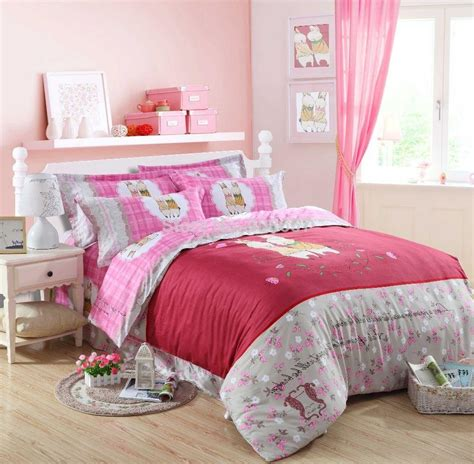 best rabbit bedding best 2015 cute red pink rabbit plaid design printed