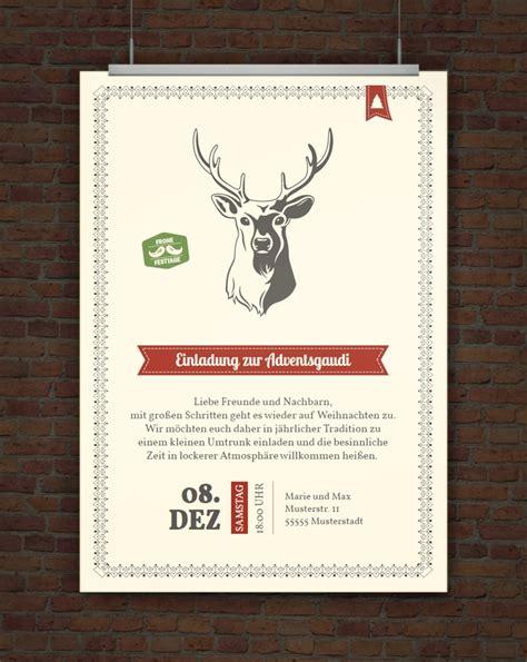 Muster Lustige Einladung Drucke Selbst Vorlage Weihnachtseinladung Hirsch
