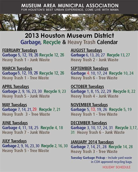 Calendar Trash 2013 Heavy Trash Garbage And Recycling Museum Area