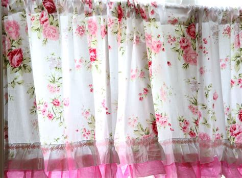 Chic Kitchen Curtains by Shabby Country Chic Ruffled Wildflower Pink White