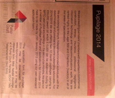 times law section top barristers chambers in national newspaper pupilage