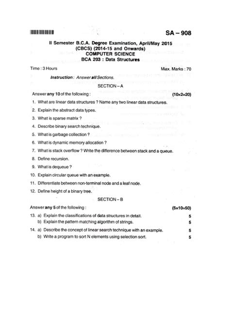 Bangalore Mba Question Papers by Data Structures Bangalore B C A Apr May 2015