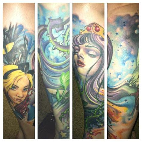 wyld chyld tattoos in sleeping leg sleeve