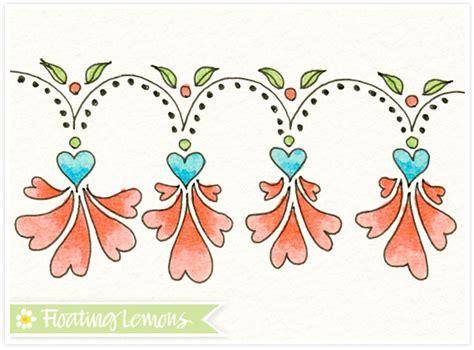 doodle flower border floating lemons doodle day flower border