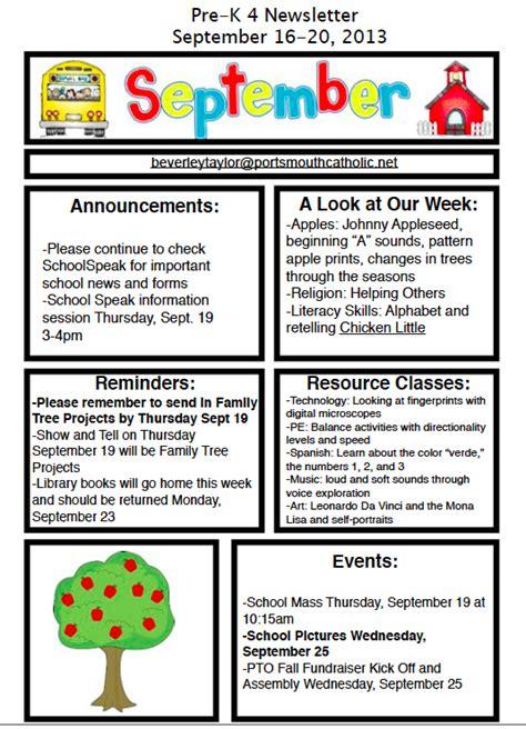pre k 4 newsletter september 16 2013 portsmouth