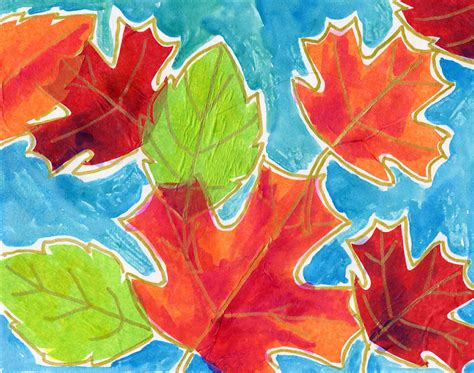 Tissue Paper Leaf Craft - projects for september 2011