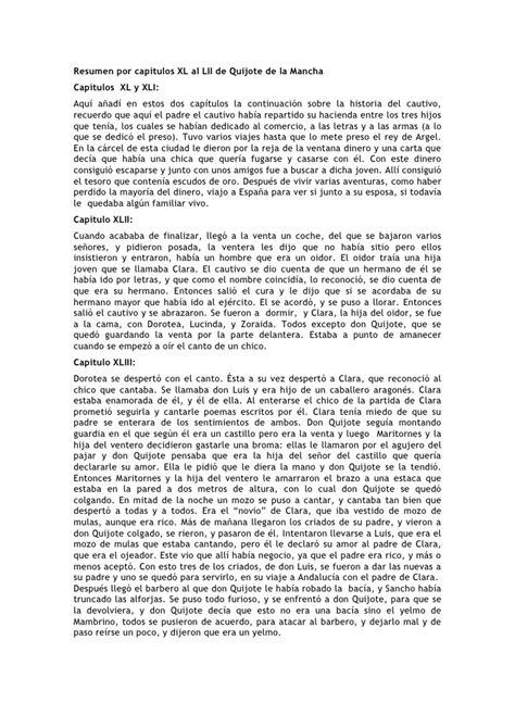 resumen del libro don quijote dela mancha por capitulos pdf resumen del quijote de la mancha