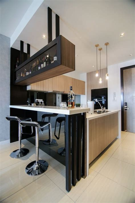 modern kitchen design  integrated bar counter