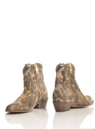 camouflage leather ankle boots by lama shoes